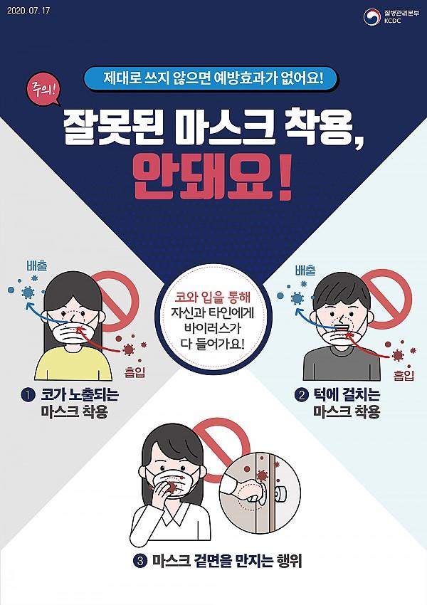 마스크 제대로 쓰지 않으면 코와 입을 통해 바이러스가 들어가 예방 효과가 없어요.